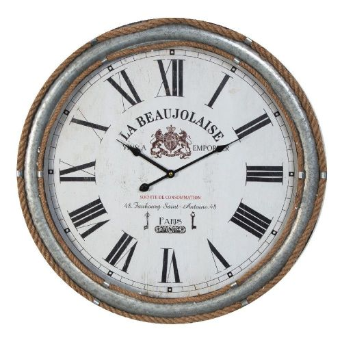 Large French Country Rustic Metal and Rope Wall Clock 60cm